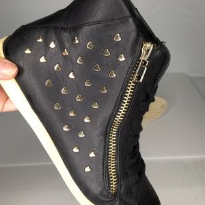 Black Vegan Gold Heart Studded ZIP  Hightop Shoes